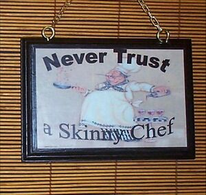 Fat Chef Wood Welcome Sign Bistro Home Decor Never Tru   eBay