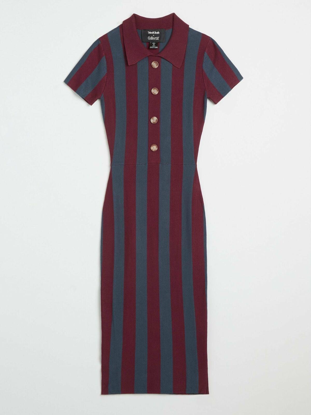 Collectif X Modcloth Maya Knitted Stripe Pencil Dress Wine/Blue UK10