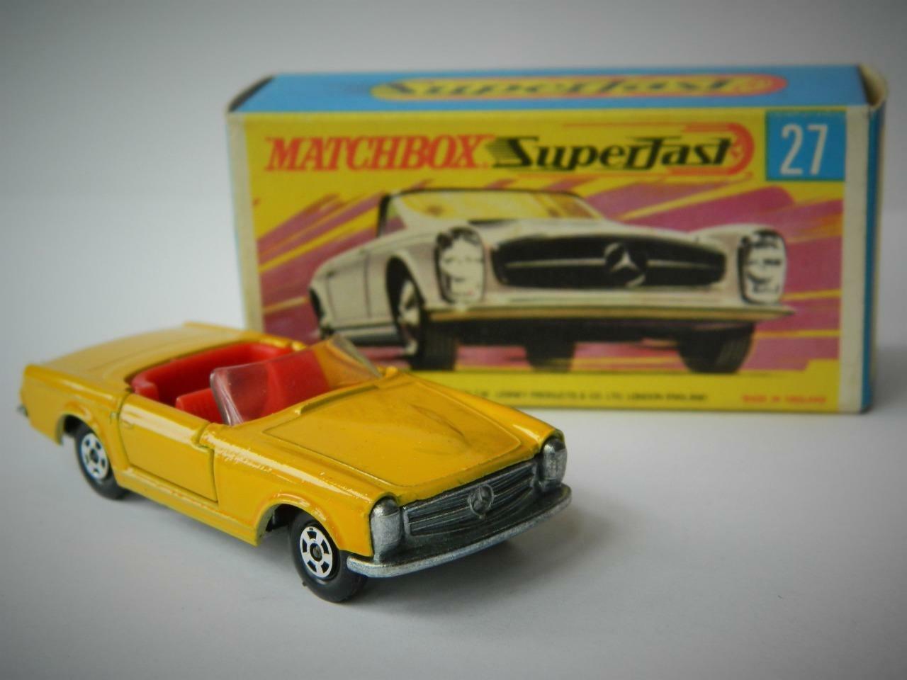MATCHBOX LESNEY SUPERFAST 27 MERCEDES 230SL RARE RED INTERIOR MINT IN G2 BOX