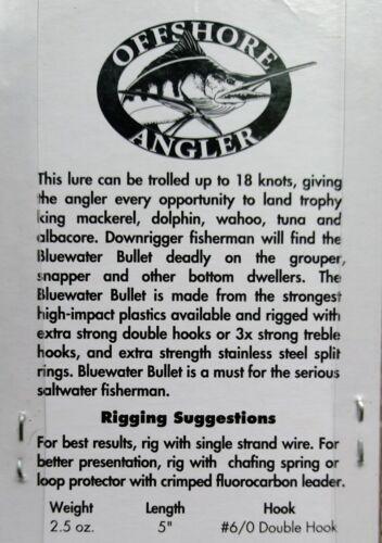 "environ 70.87 g Lot de 2 NEUF Offshore Angler Trolling Lure Mullet Saltwater Fishing 5/"" 2.5 oz"