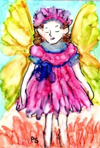 ACEO-Sleepy-Shy-Flower-Fairy-Alcohol-Ink-Painting-Art-Original-by-Penny-StewArt