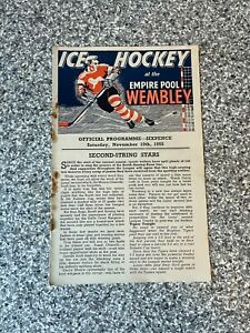 Wembley Empire Pool - Wembley Lions - Ice Hockey Programme 19/11/1955