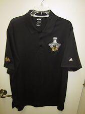 Men's ADIDAS ClimaLite Blackhawk Stanley Cup Champions SS Golf Polo Shirt Sz XL