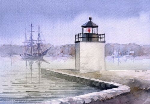 Derby Wharf Lighthouse Friendship of Salem Maritime Massachusetts Notecards
