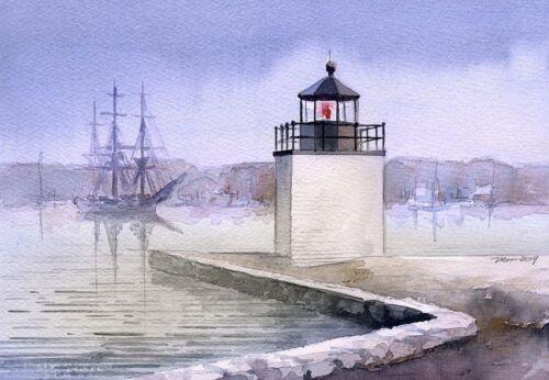 Derby Wharf Lighthouse Friendship of Salem Maritime Massachusetts Notecards