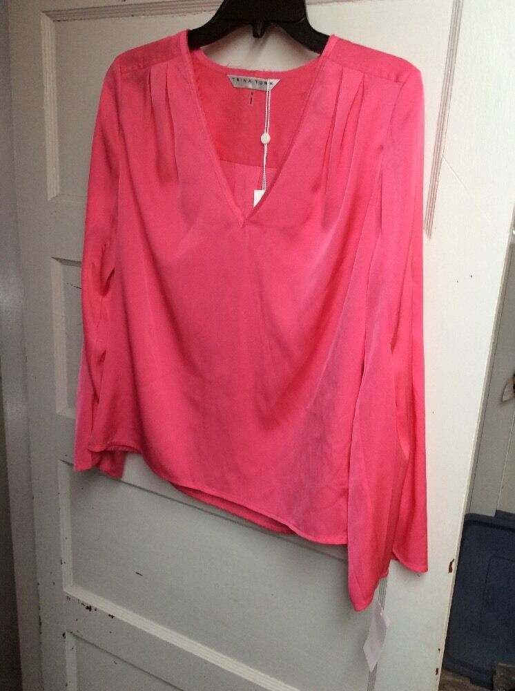 Trina turk Rosa silk blouse Größe small BN01L
