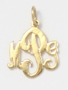 14k yellow gold mpg monogram initial charm necklace pendant ebay image is loading 14k yellow gold mpg monogram initial charm necklace aloadofball Gallery