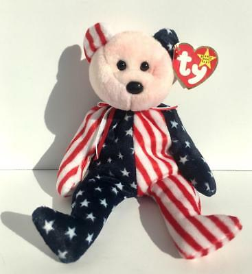 """MWMTs Pink Face TY Beanie Babies /""""SPANGLE RETIRED /"""" PATRIOTIC USA TEDDY BEAR"""