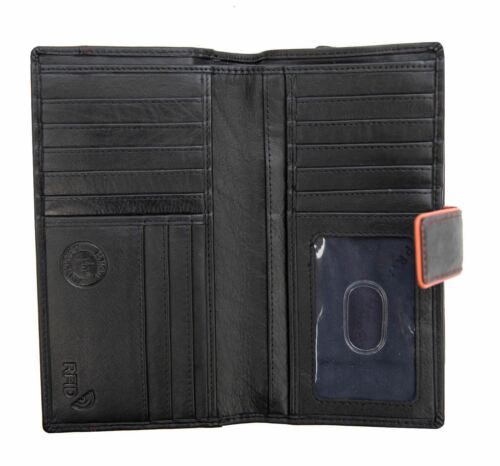Prime Hide Hette Womans Large Soft Black Leather Wallet Purse RFID Blocking New