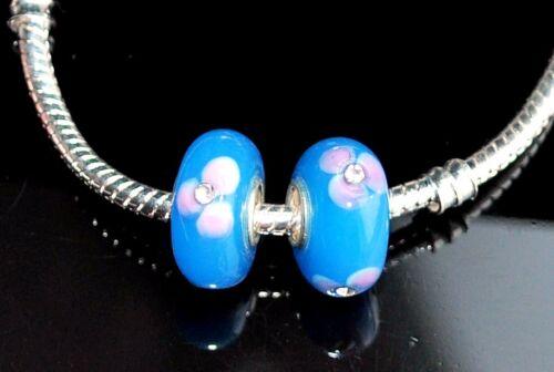 Plata de un núcleo de cristal de Murano azul Rhinestone flor encanto pulsera de perlas