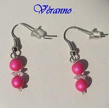Boucles d'oreilles Siris rose fluo et cristal.