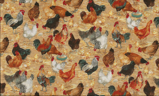 Fat Quarter Chickens Hens and Cockerels Farm Cotton Quilting Fabric Makower 1052