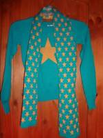 Girls Sweater Combo Teal Turquoise Heart N Crush Yellow Star Scarf Set Size S