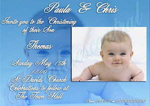 40 Personalised Christening Invitations Childrens Baby Boy Or