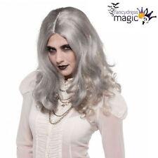 Ladies Long Grey Ghost Zombie Wig Halloween Fancy Dress Costume Accessory