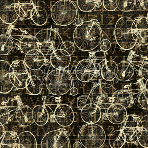 Graphic45 ON THE GO 12x12 Dbl-Sided Scrapbook Paper VINTAGE BICYCLES 2pc