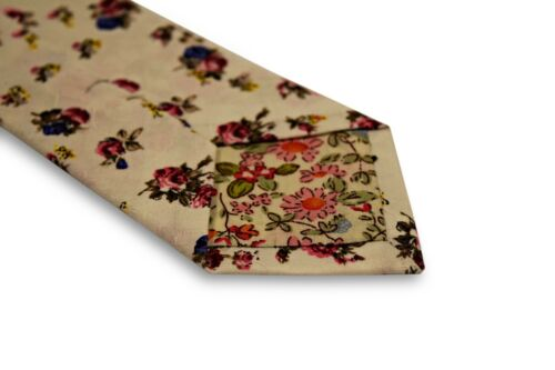 Frederick Thomas ivory cream cotton tie with pink and blue floral print FT3323