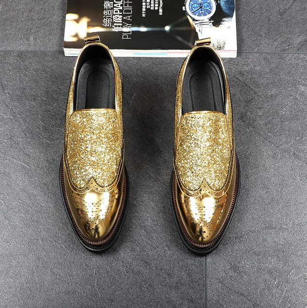 Men Brogune Pointed Toe Slip On Sequins Bling Casual  Platform Hidden Heel shoes
