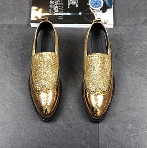 Men Brogune Pointed Toe Slip On Sequins Bling Casual  Platform Hidden Heel shoes