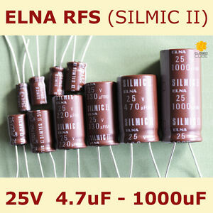 ELNA RFS Audio SILMIC II Aluminium Electrolytic Capacitor 25V 1000uF 4.7uF