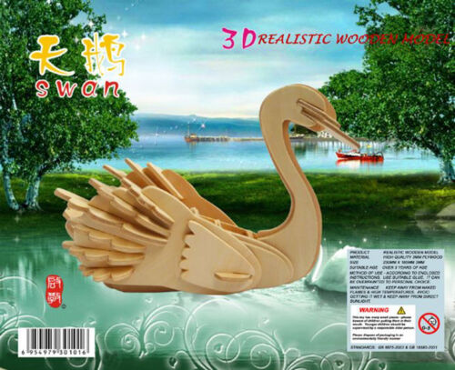 SWAN 3D Jigsaw Realistic Wooden Model DIY Construction Decorate Toy Puzzle Gift