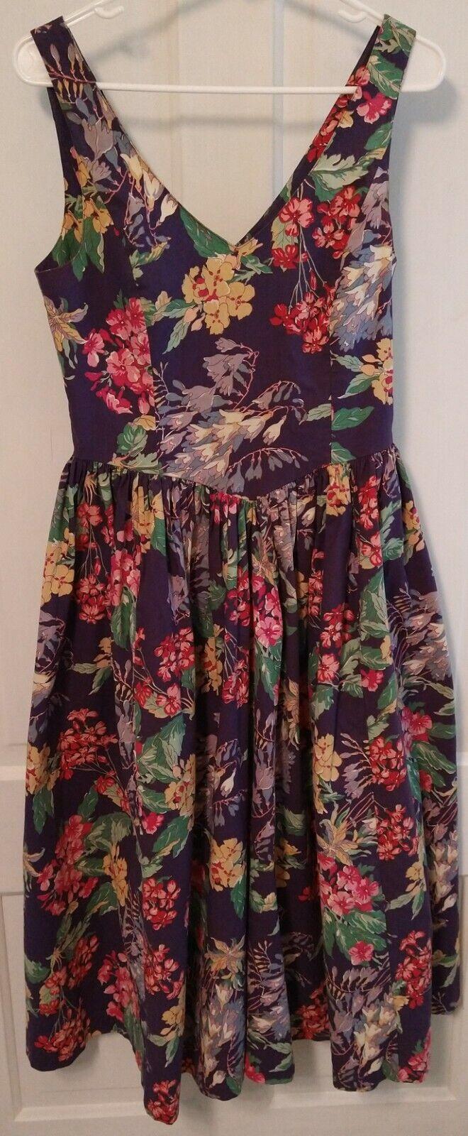 Vintage Laura Ashley Floral Sundress 80s-90s Purp… - image 1