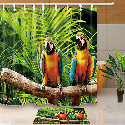 """Bathroom Polyester Curtains Tropical Parrots Shower Curtain Set 71X71/"""" Liner"""