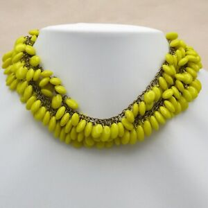 Vtg-1940-s-50-s-172-gram-HEAVY-Yellow-Glass-Cluster-Dangle-Bib-Necklace