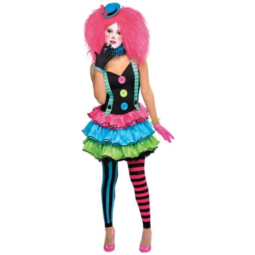 KOOL KLOWN GIRLS CIRCUS CLOWN INC TEENAGE SIZE HALLOWEEN FANCY DRESS COSTUME