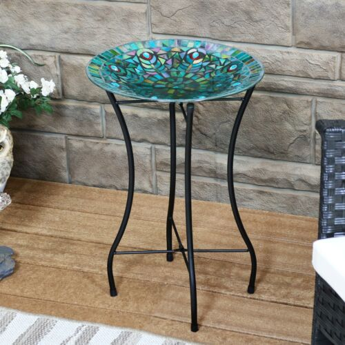 "Sunnydaze Bird Bath Bowl with Stand Glass Peacock Feather Design 14/"" Diameter"