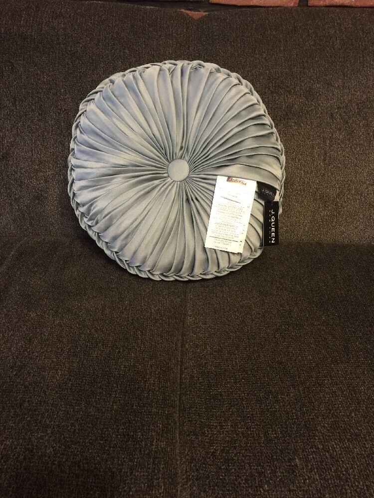 J Queen Queen Street Kingsley Tufted Round Decorative Pillow French bluee