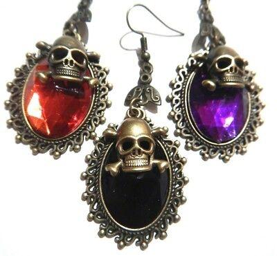 Skeleton earrings rhinestone skull earrings 3 earrings jolly roger earrings drop earrings skull earrings steampunk