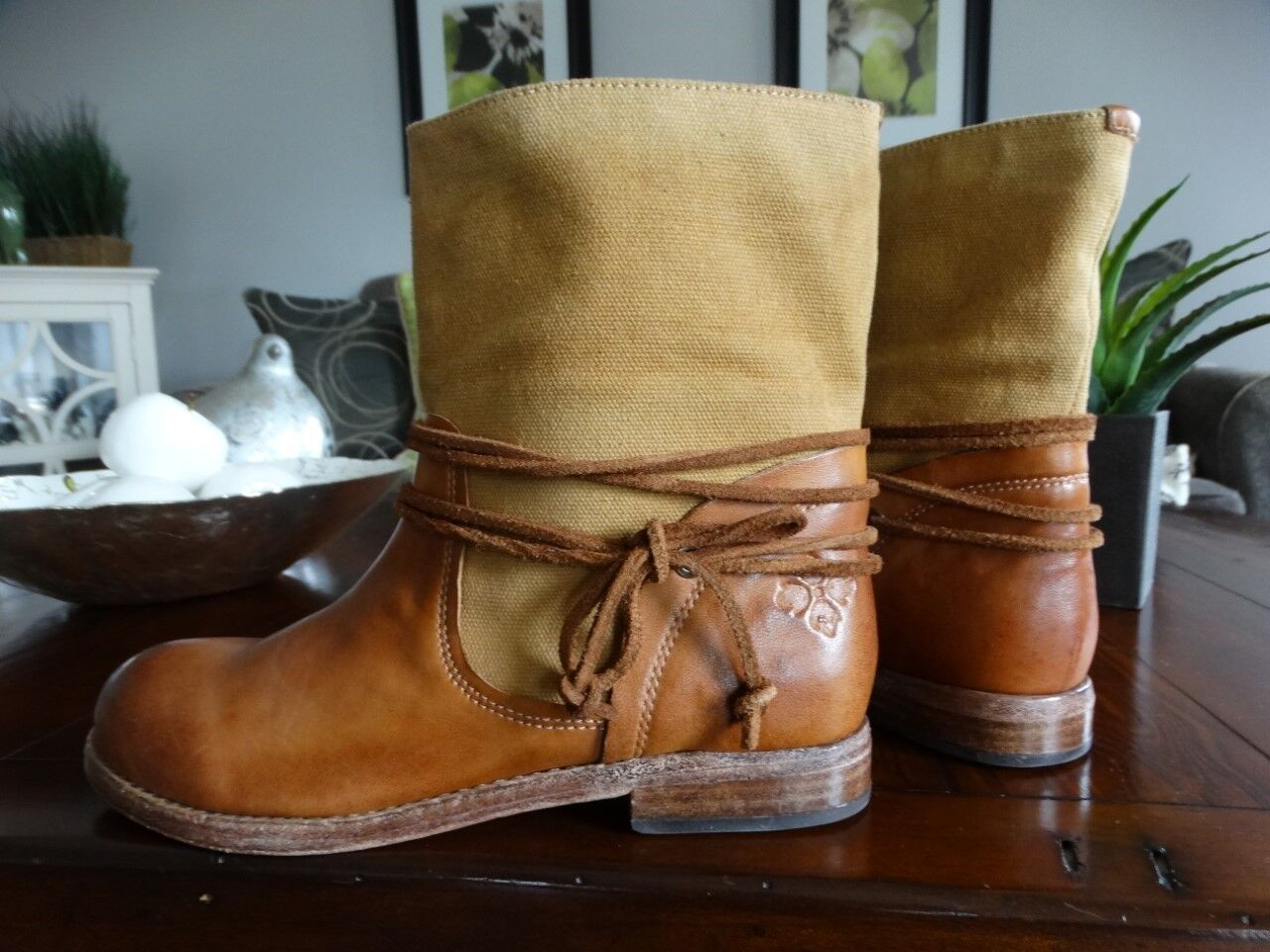 NEW PATRICIA NASH Sabbia Canvas Leather Motorcycle Boots Boots Boots Tan 6.5 0b7424
