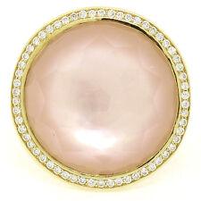 Ippolita Lollipop 18K Yellow Gold Pink Mother of Pearl & Round Diamond Halo Ring