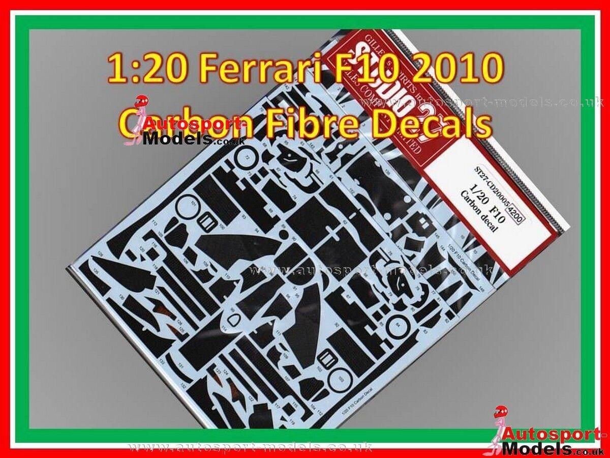 1 20 Ferrari F10 Studio 27 Templated Carbon Fibre Waterslide Decal Set