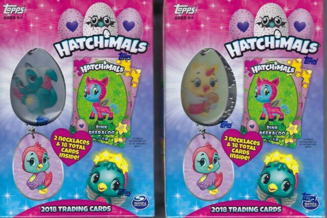 (2) 2018 Topps HATCHIMALS Trading Cards Value/Blaster Box LOT = 2 Necklaces/Box