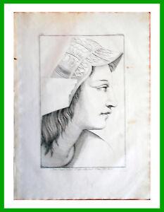 Stampa-incisione-1850s-Testa-volto-d-039-Aspasia-Scuola-di-Atene-di-Raffaello-CXCII