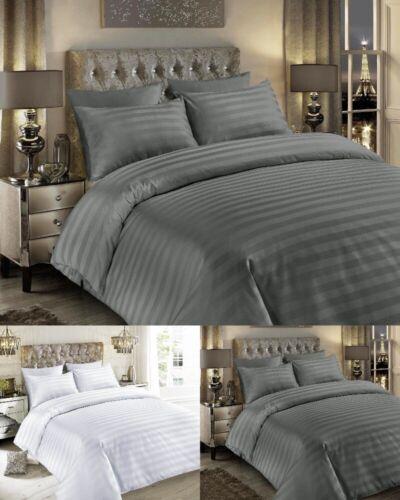 Satin Stripes 100/% Egyptian Cotton TC400 Hotel Quality Duvet Cover Sets Sheets