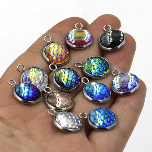 10PCS Resin Metal Mermaid Fish Scale Charms Pendant Jewelry Necklace DIY 12mm C