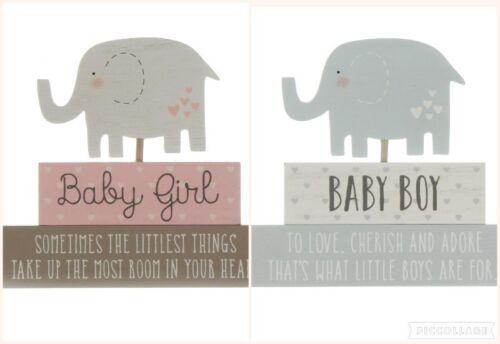 Baby stacked Blocks Elephant Free Standing Plaque Nursery Decoration Boy /& Girl