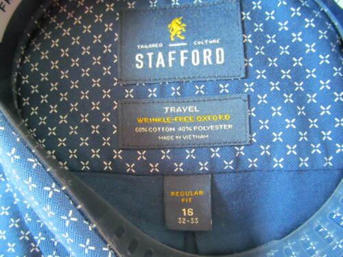 NWT STAFFORD WRINKLE FREE STRETCH OXFORD REGULAR FIT SHIRT Navy Blue Pinwheel