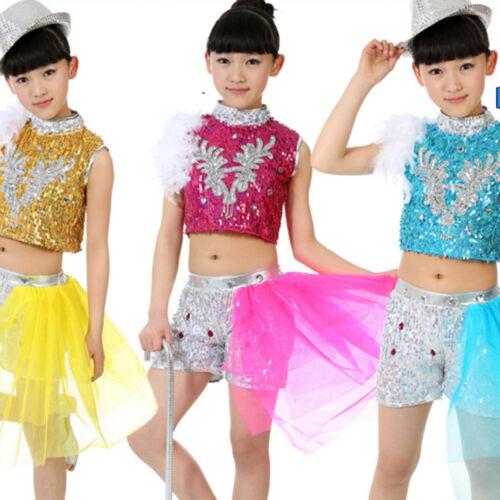 Childrens Paillette Dancewear kids Jazz Hip Hop Ballroom Dance Costume Top/&Short
