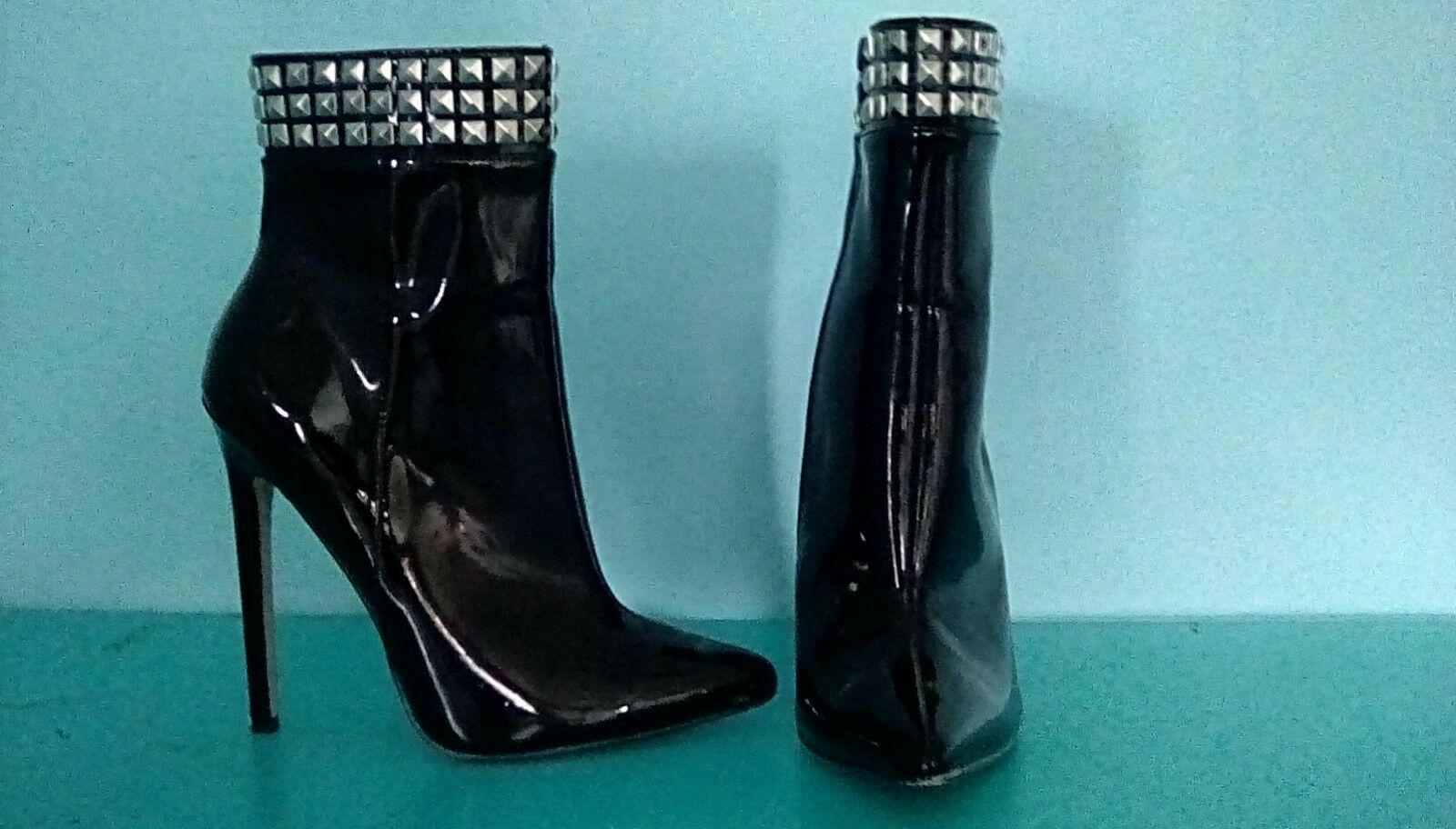Black Patent Leather Ankle Boots with Studded Ankle Collar, Size 4