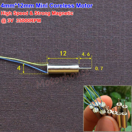 4mmx12mm Mini Coreless Motor DC3V 35000RPM High Speed Strong Magnetic Motor