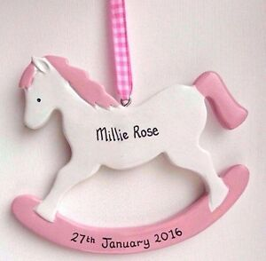 Personalised new baby gift rocking horse pink blue name date image is loading personalised new baby gift rocking horse pink blue negle Gallery