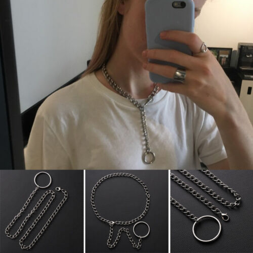 Men Punk Gothic Handmade Cool Necklace Metal Chain Collar Choker Silver Chain