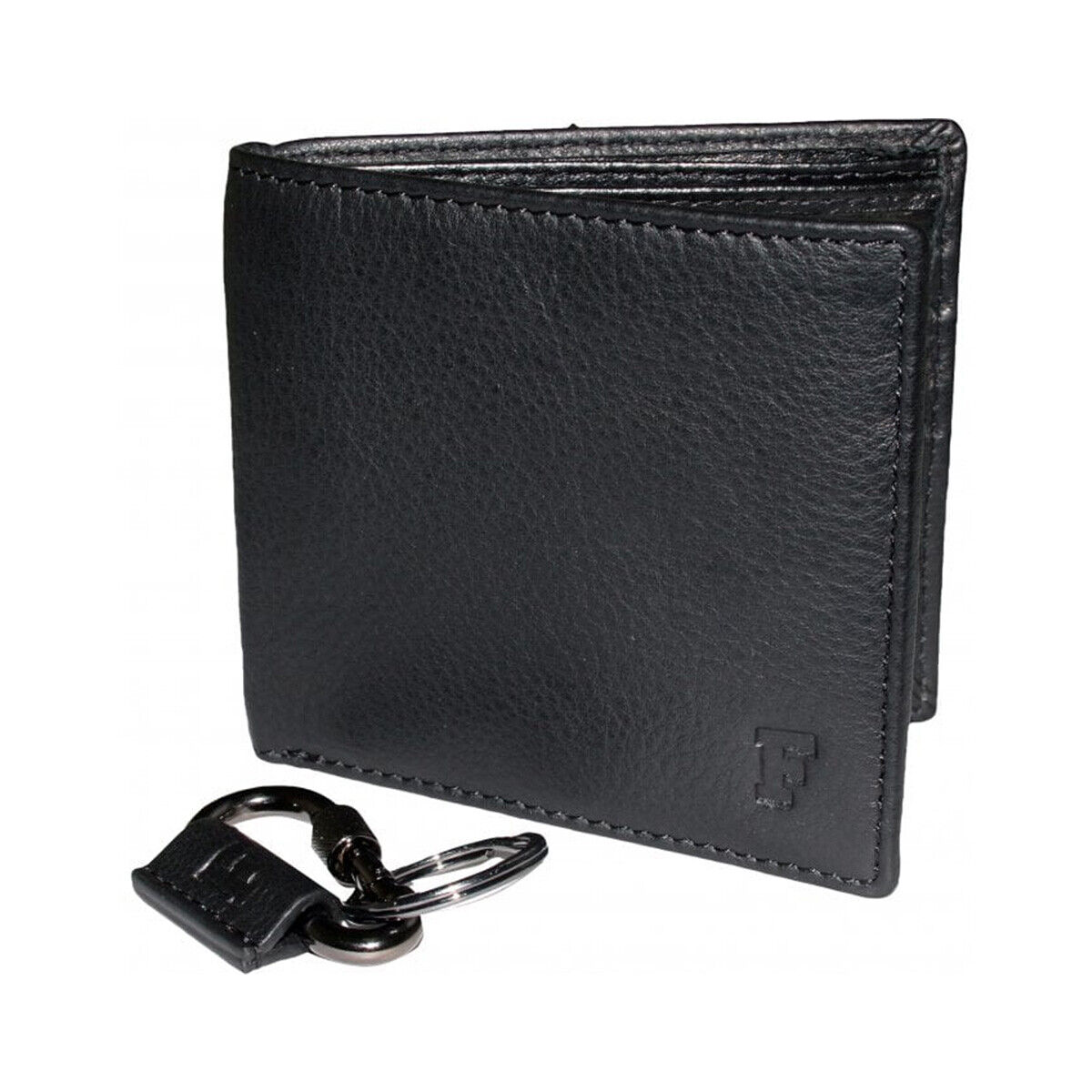 French Connection Classic Leather Wallet & Key Ring Set