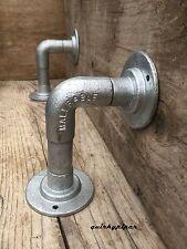 TUBO in acciaio industriale Steampunk Mensola Staffe x2 (K)