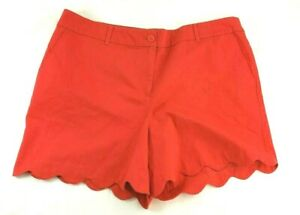 Talbots Womens Size 16 XL XLarge Shorts Flat Front Red Stretch Scalloped Hem