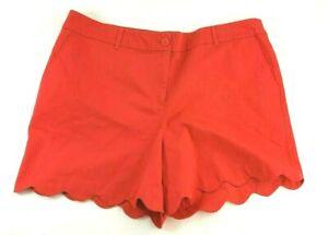Talbots-Womens-Size-16-XL-XLarge-Shorts-Flat-Front-Red-Stretch-Scalloped-Hem